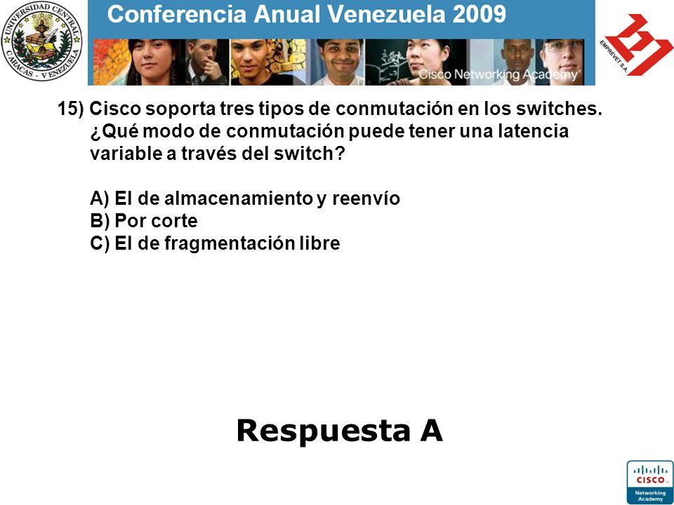 15) Cisco soporta tres tipos de conmutación en los switches