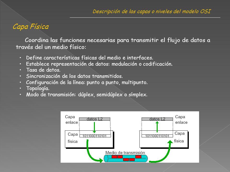 Descripción de las capas o niveles del modelo OSI