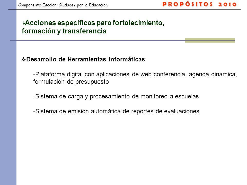 Acciones específicas para fortalecimiento, formación y transferencia