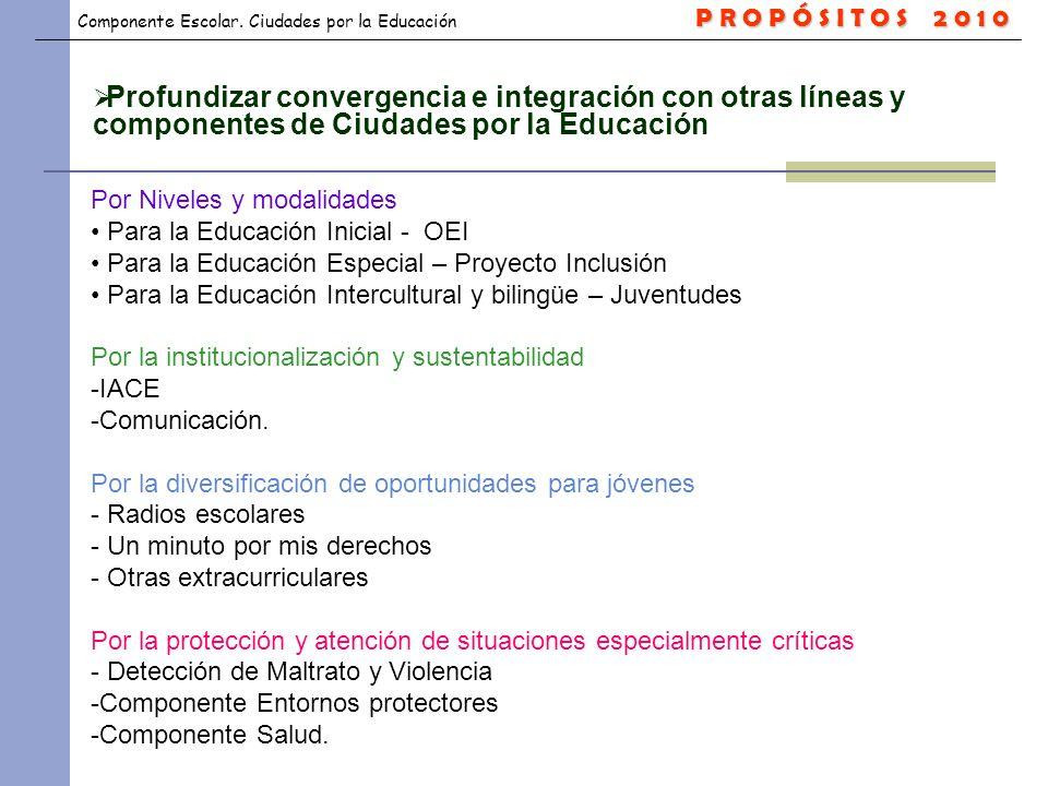 P R O P Ó S I T O S 2 0 1 0 Profundizar convergencia e integración con otras líneas y componentes de Ciudades por la Educación.