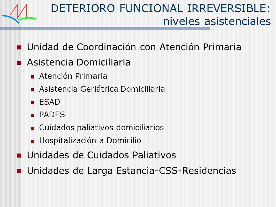 DETERIORO FUNCIONAL IRREVERSIBLE: niveles asistenciales