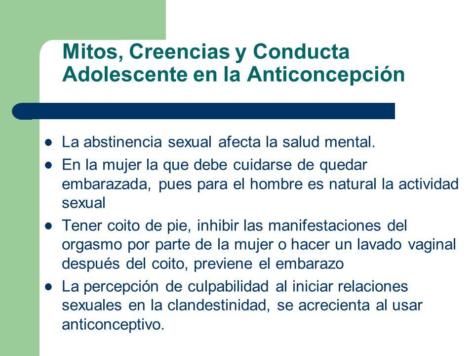 Mitos, Creencias y Conducta Adolescente en la Anticoncepción