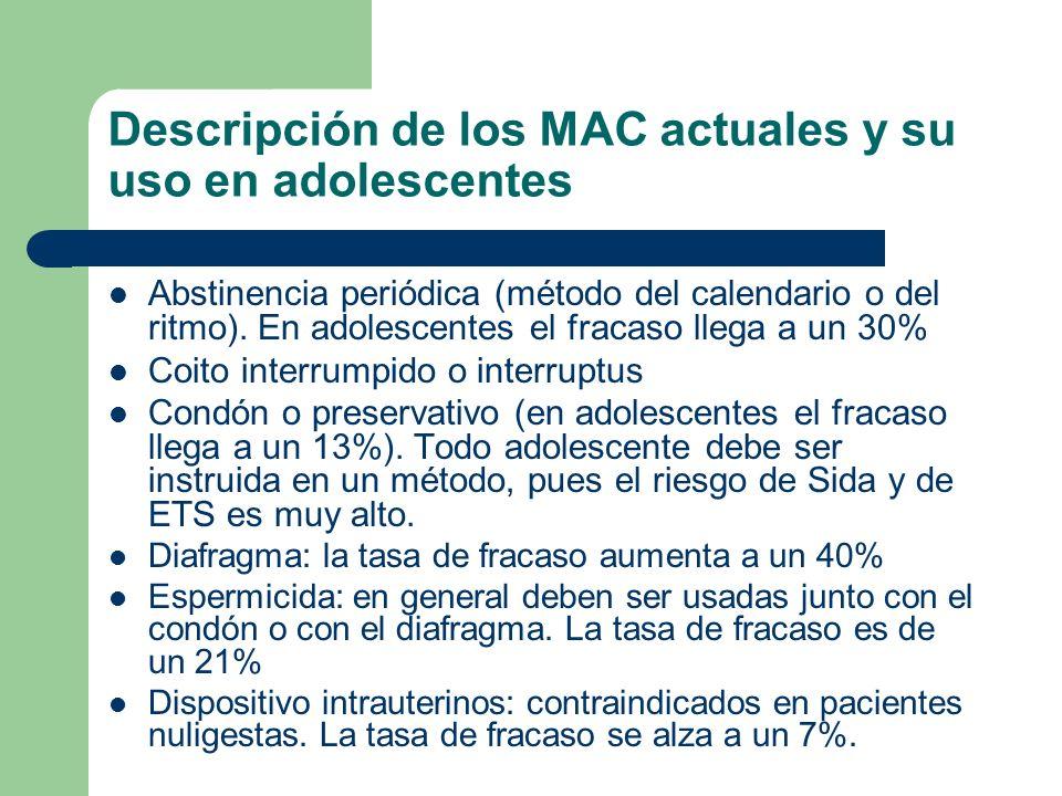 Descripción de los MAC actuales y su uso en adolescentes