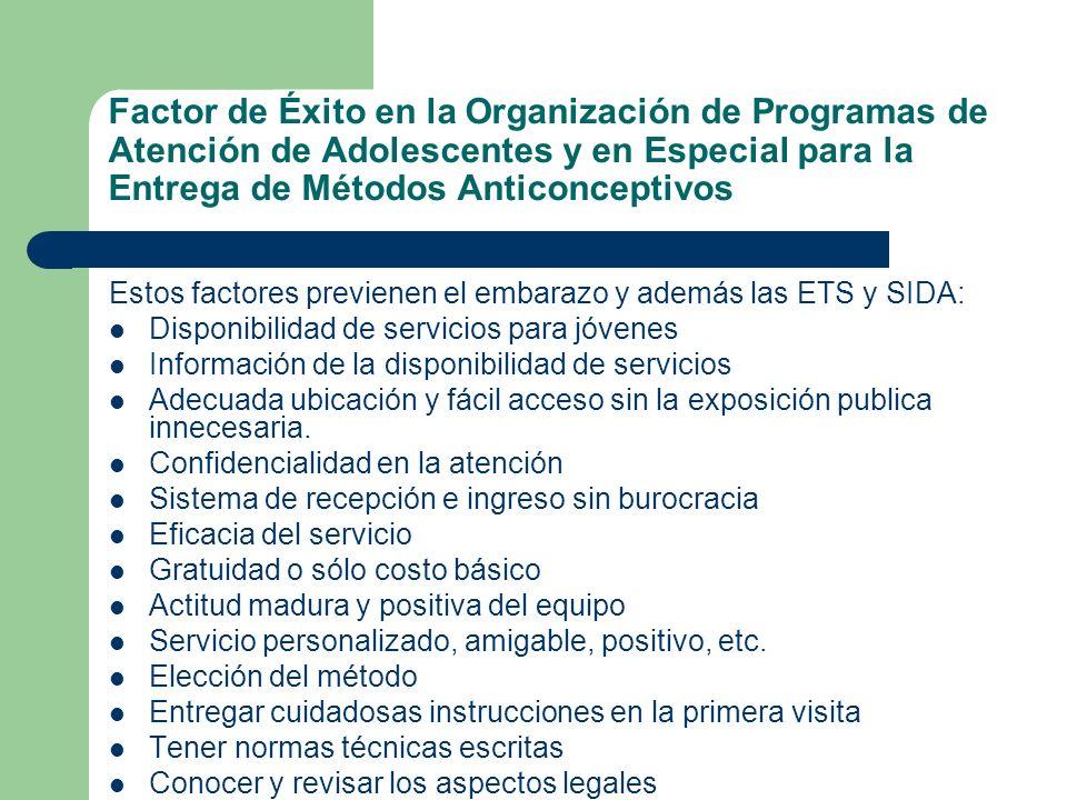 Factor de Éxito en la Organización de Programas de Atención de Adolescentes y en Especial para la Entrega de Métodos Anticonceptivos