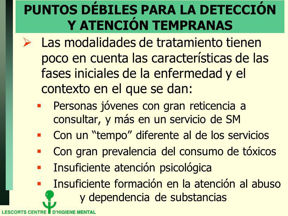 PUNTOS DÉBILES PARA LA DETECCIÓN Y ATENCIÓN TEMPRANAS