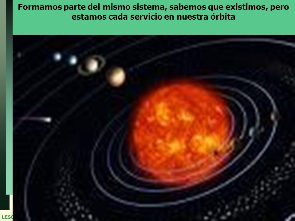 Formamos parte del mismo sistema, sabemos que existimos, pero estamos cada servicio en nuestra órbita