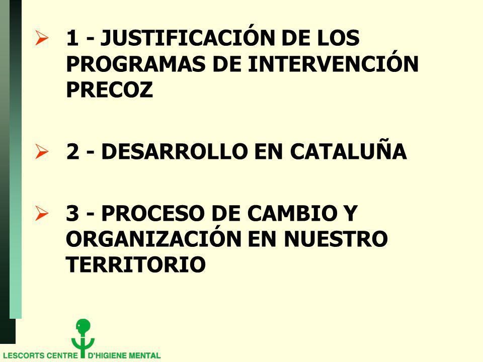 1 - JUSTIFICACIÓN DE LOS PROGRAMAS DE INTERVENCIÓN PRECOZ