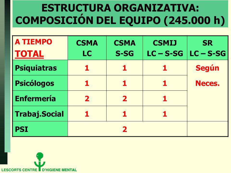 ESTRUCTURA ORGANIZATIVA: COMPOSICIÓN DEL EQUIPO (245.000 h)