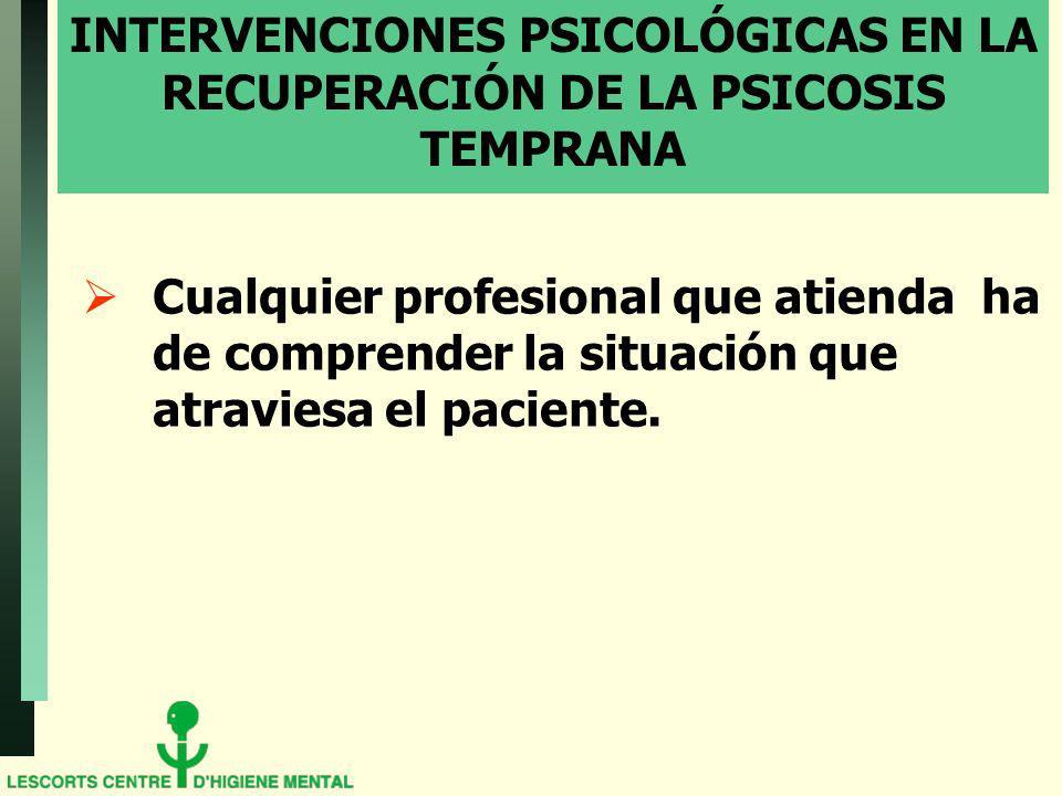 INTERVENCIONES PSICOLÓGICAS EN LA RECUPERACIÓN DE LA PSICOSIS TEMPRANA
