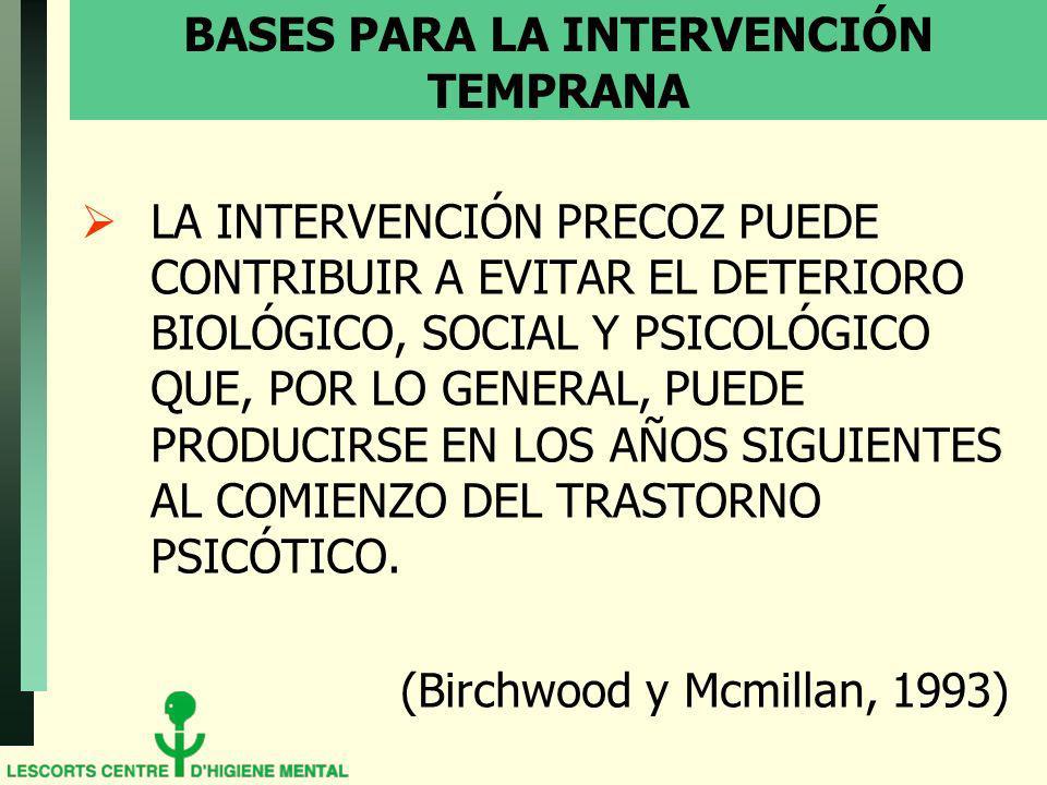BASES PARA LA INTERVENCIÓN TEMPRANA