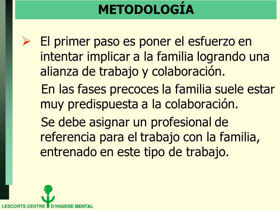 METODOLOGÍA El primer paso es poner el esfuerzo en intentar implicar a la familia logrando una alianza de trabajo y colaboración.