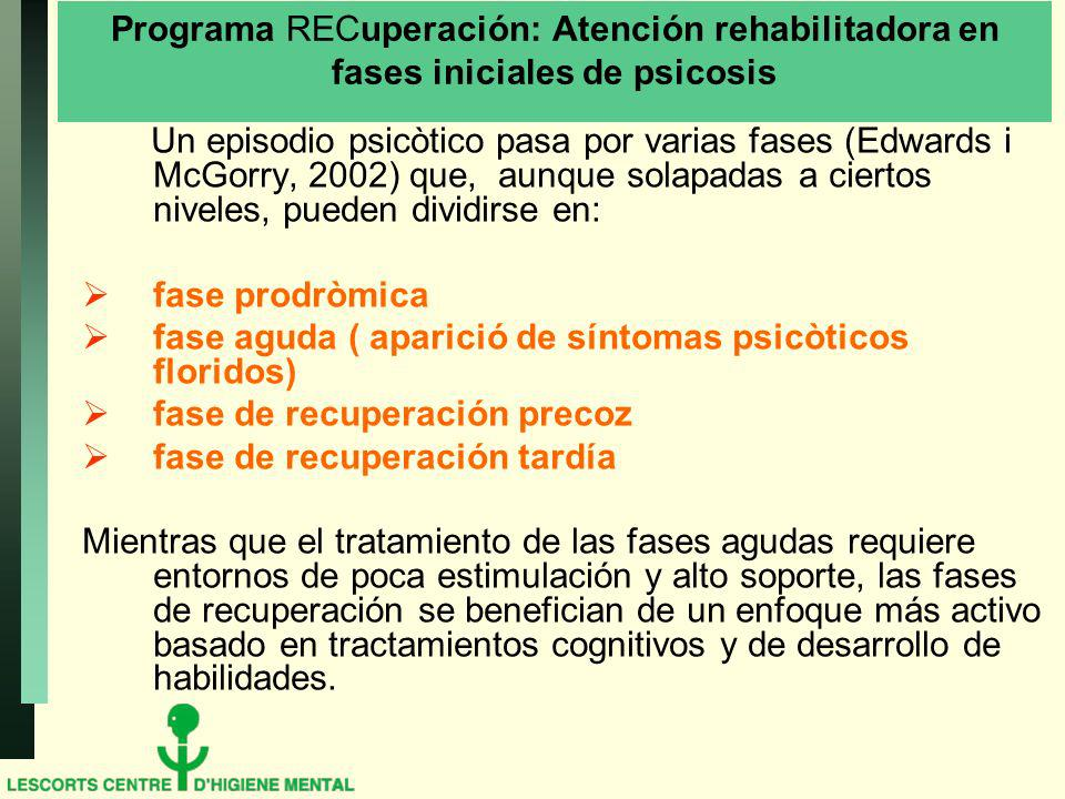 Programa RECuperación: Atención rehabilitadora en fases iniciales de psicosis