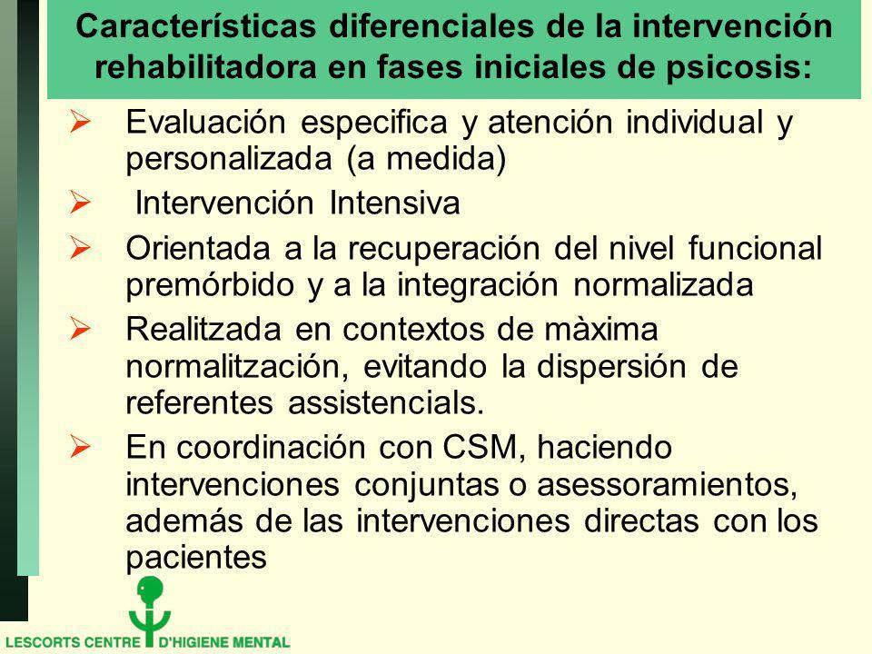 Características diferenciales de la intervención rehabilitadora en fases iniciales de psicosis: