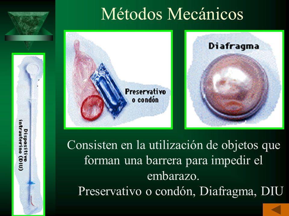 Preservativo o condón, Diafragma, DIU