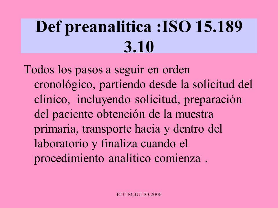 Def preanalitica :ISO 15.189 3.10