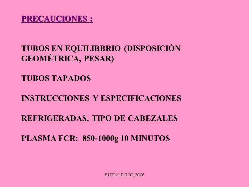 PRECAUCIONES : TUBOS EN EQUILIBBRIO (DISPOSICIÓN GEOMÉTRICA, PESAR) TUBOS TAPADOS INSTRUCCIONES Y ESPECIFICACIONES REFRIGERADAS, TIPO DE CABEZALES PLASMA FCR: 850-1000g 10 MINUTOS