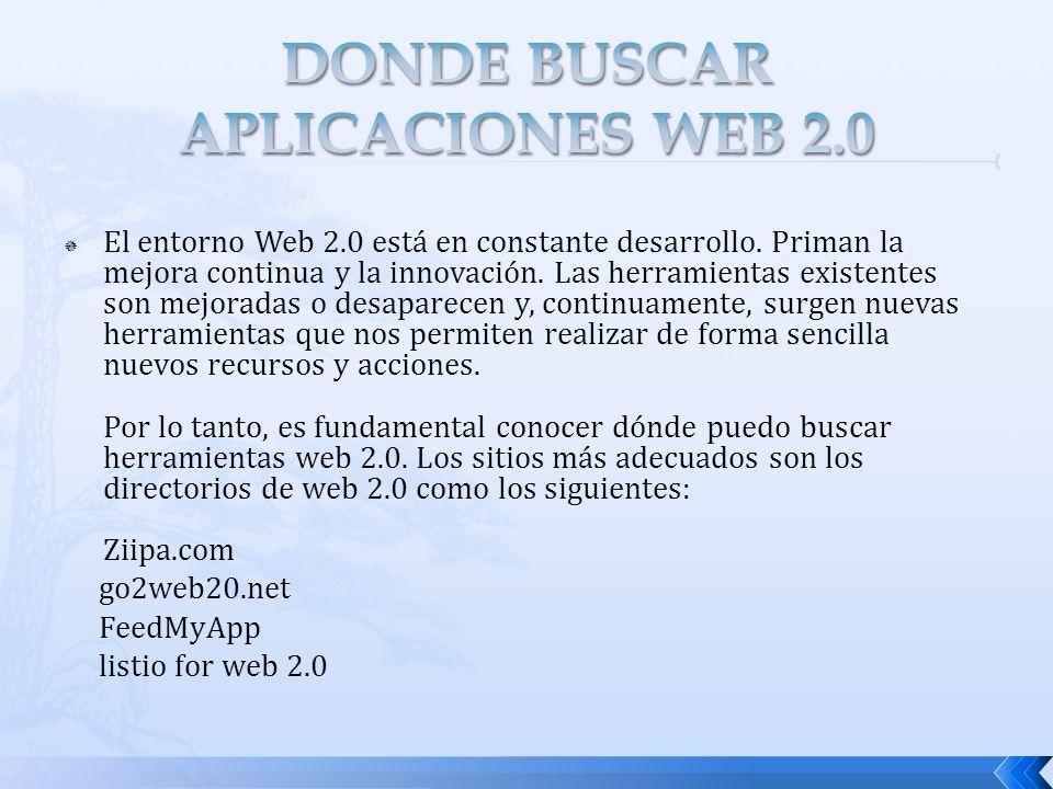DONDE BUSCAR APLICACIONES WEB 2.0