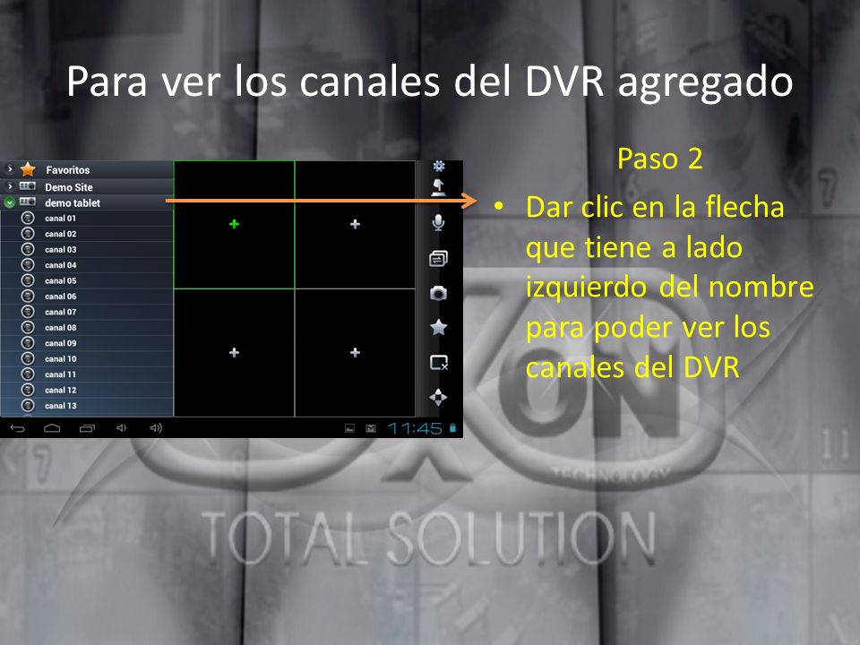 Para ver los canales del DVR agregado