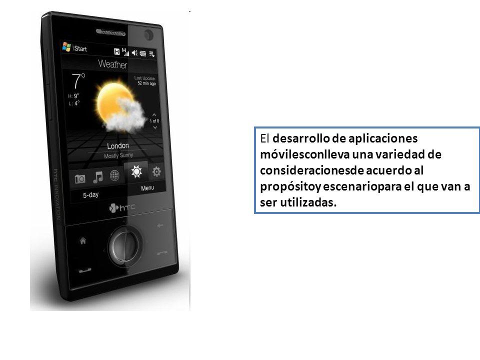 El desarrollo de aplicaciones móvilesconlleva una variedad de consideracionesde acuerdo al propósitoy escenariopara el que van a ser utilizadas.