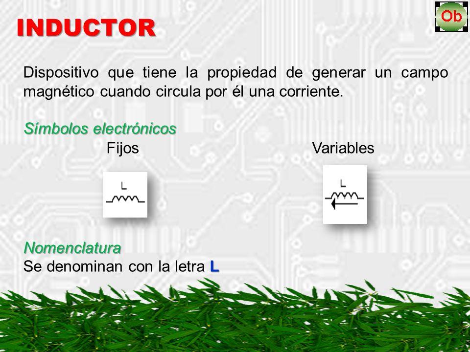 INDUCTOR Dispositivo que tiene la propiedad de generar un campo magnético cuando circula por él una corriente.