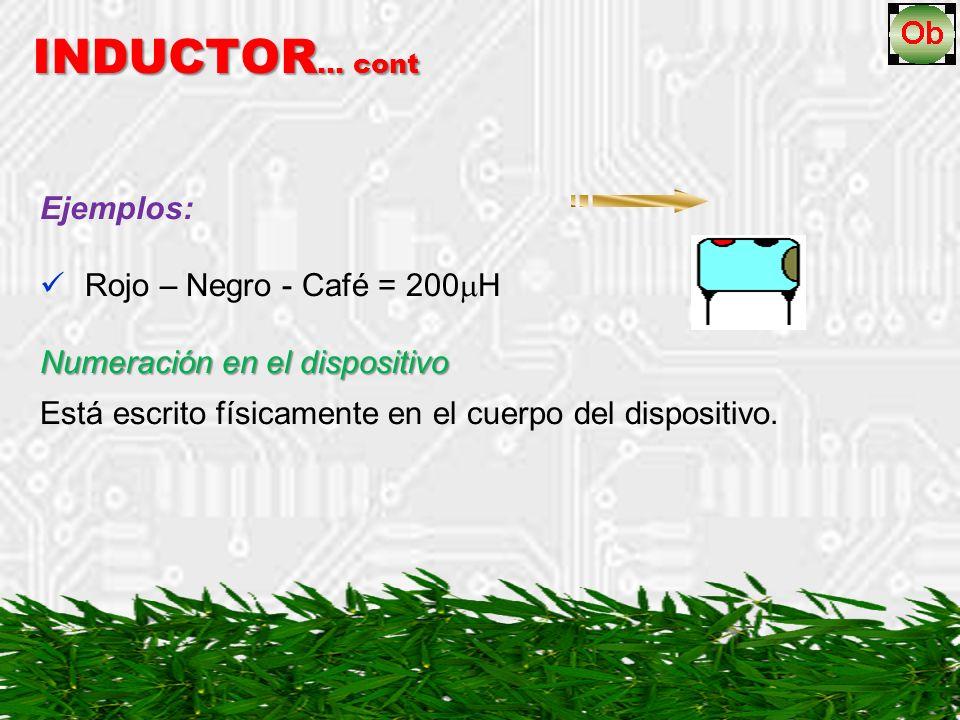 INDUCTOR… cont Ejemplos: Rojo – Negro - Café = 200H