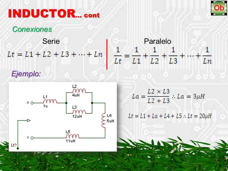 INDUCTOR… cont Conexiones Serie Paralelo Ejemplo: