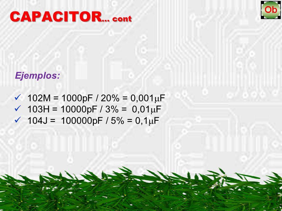 CAPACITOR… cont 102M = 1000pF / 20% = 0,001F