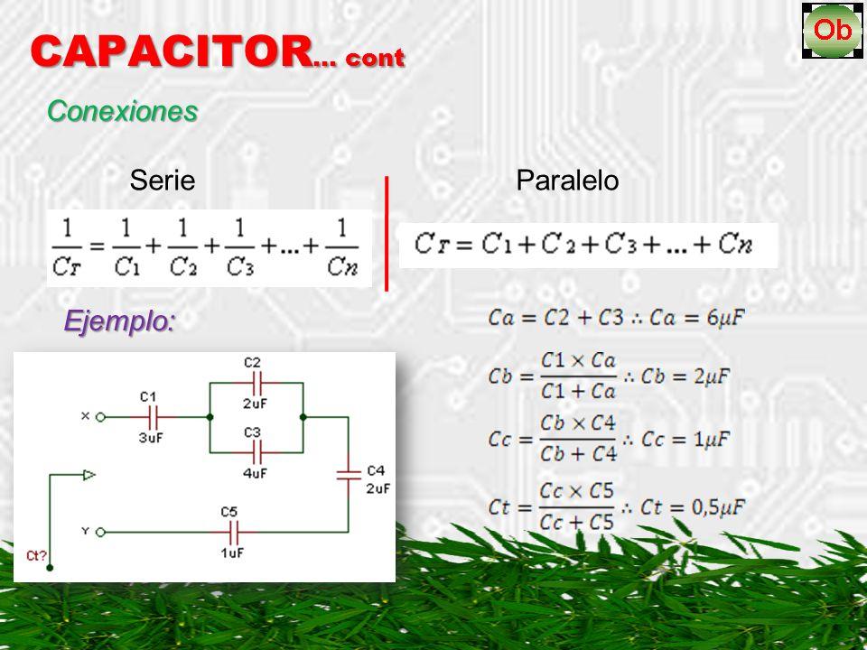 CAPACITOR… cont Conexiones Serie Paralelo Ejemplo: