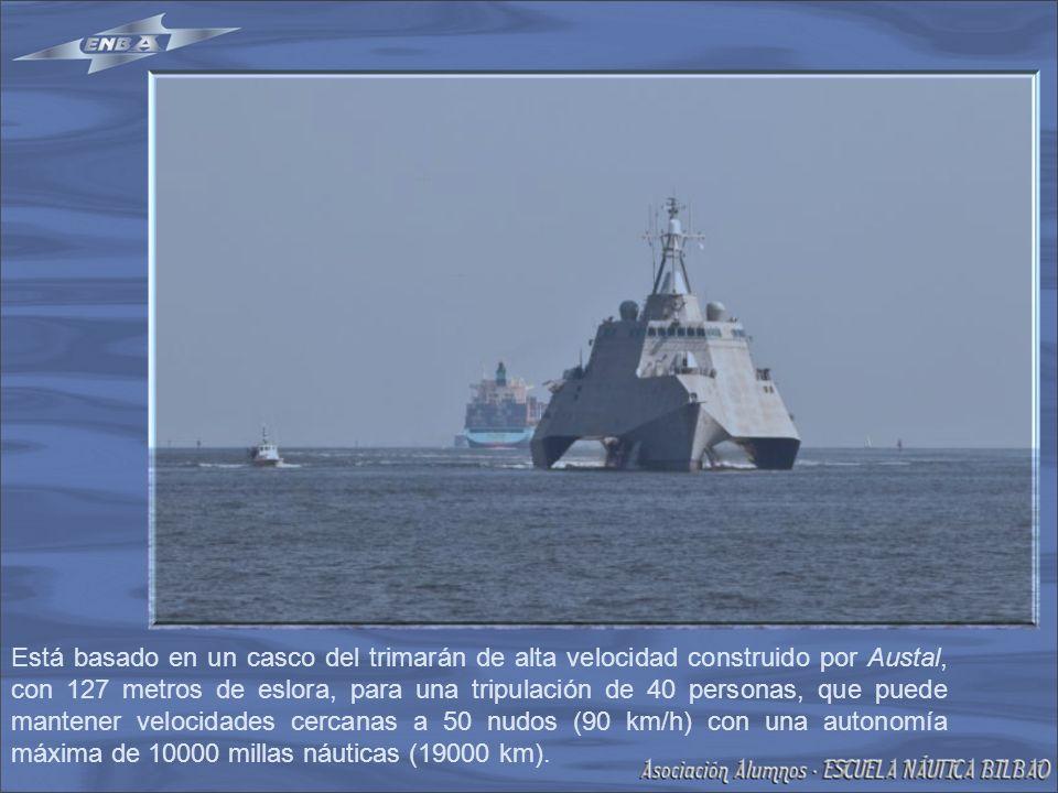 Está basado en un casco del trimarán de alta velocidad construido por Austal, con 127 metros de eslora, para una tripulación de 40 personas, que puede mantener velocidades cercanas a 50 nudos (90 km/h) con una autonomía máxima de 10000 millas náuticas (19000 km).