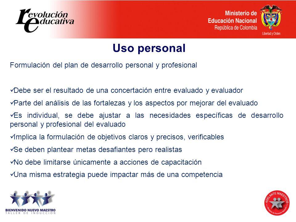 Uso personal Formulación del plan de desarrollo personal y profesional