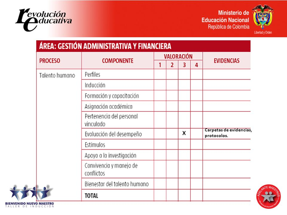 Autonomía escolar Carpetas de evidencias, protocolos. X
