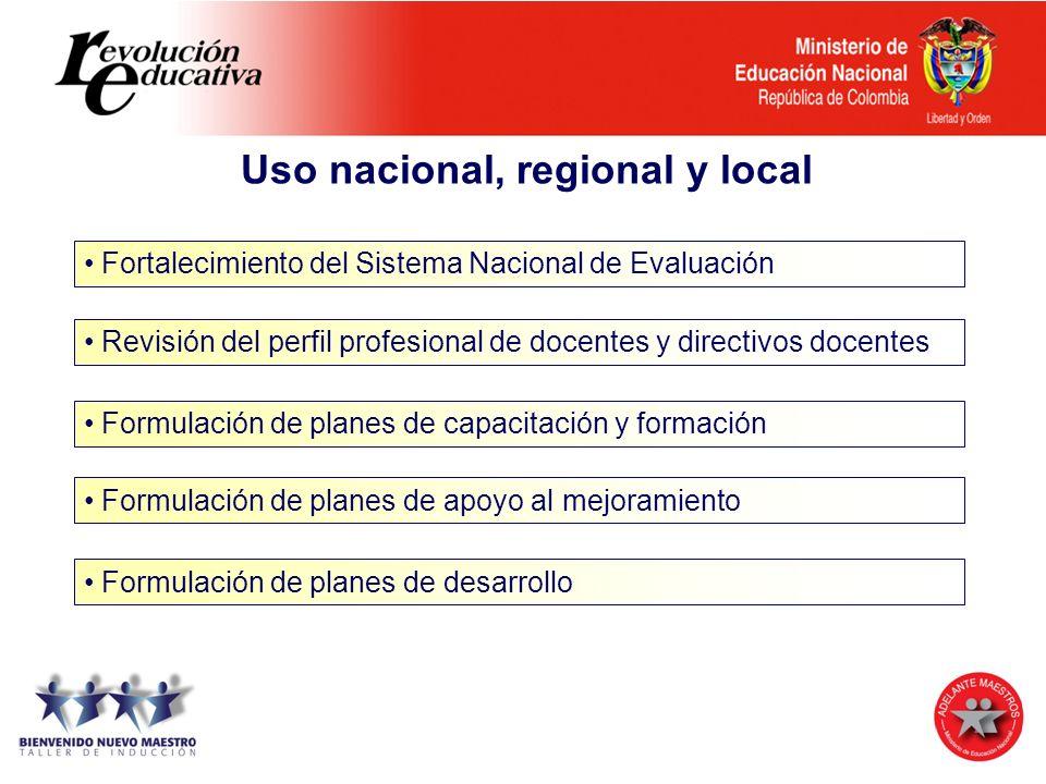 Uso nacional, regional y local