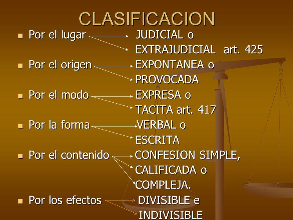 CLASIFICACION Por el lugar JUDICIAL o EXTRAJUDICIAL art. 425