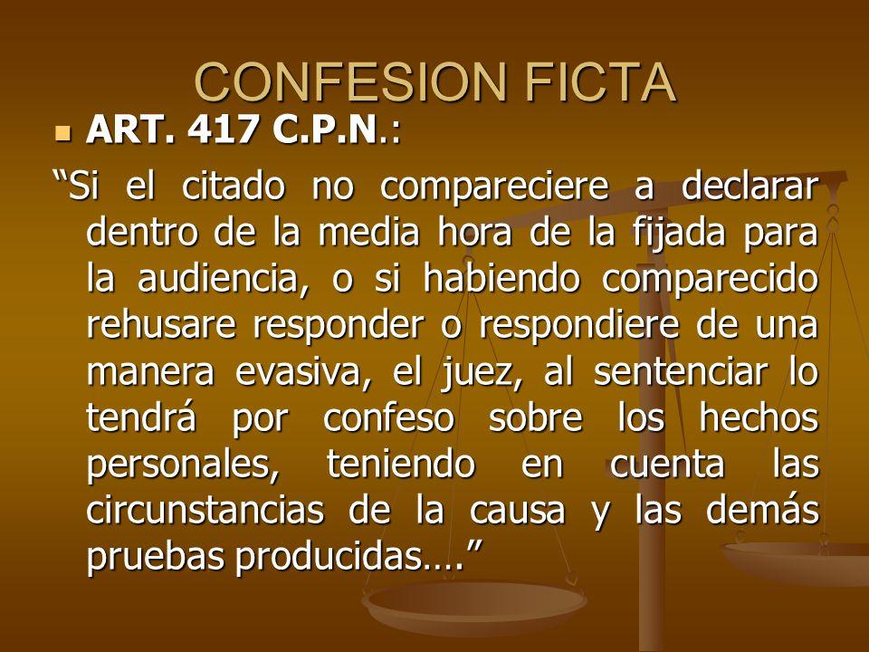 CONFESION FICTA ART. 417 C.P.N.: