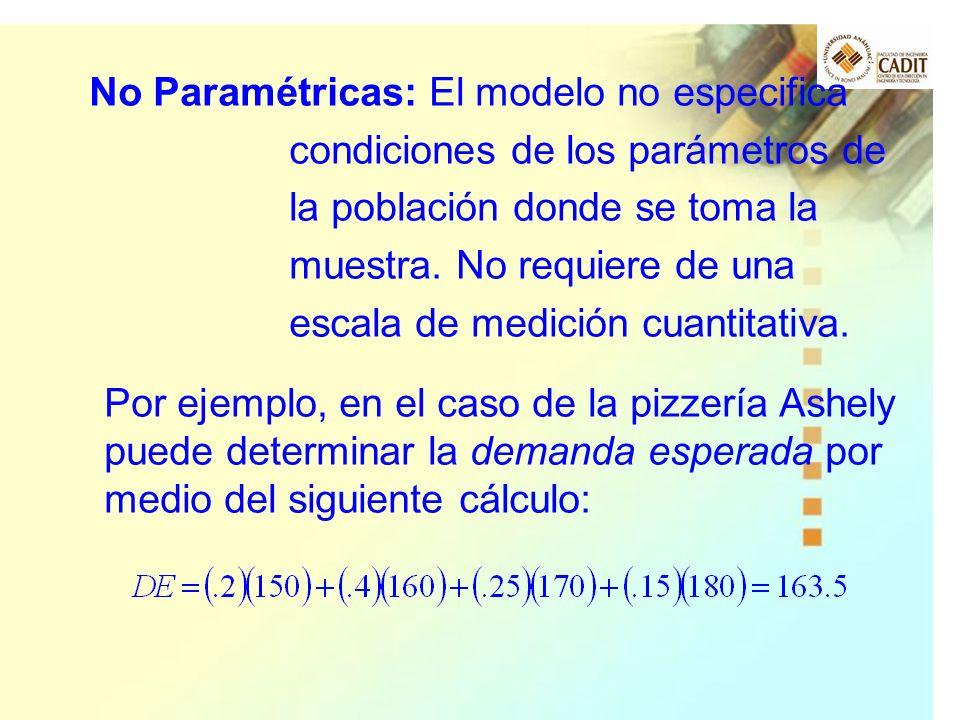 No Paramétricas: El modelo no especifica condiciones de los parámetros de la población donde se toma la muestra. No requiere de una escala de medición cuantitativa.