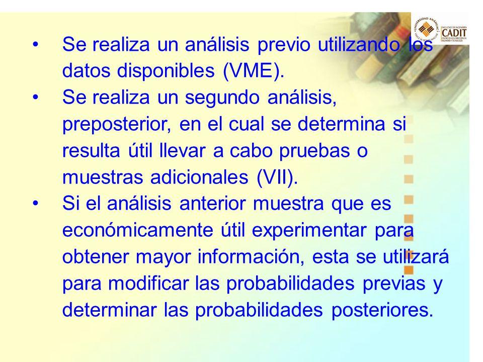 Se realiza un análisis previo utilizando los datos disponibles (VME).