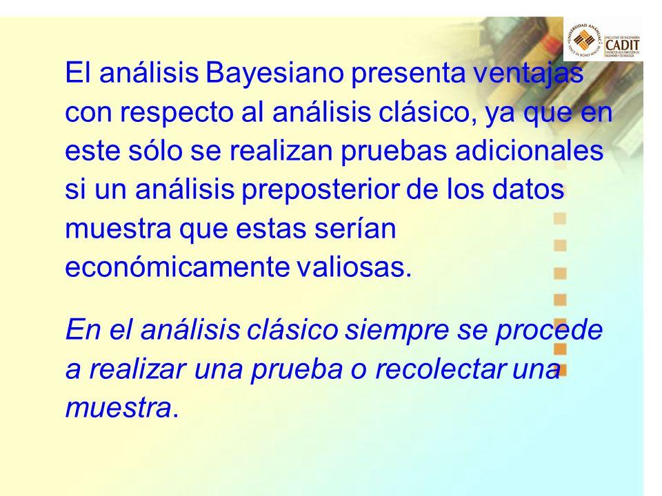 El análisis Bayesiano presenta ventajas con respecto al análisis clásico, ya que en este sólo se realizan pruebas adicionales si un análisis preposterior de los datos muestra que estas serían económicamente valiosas.