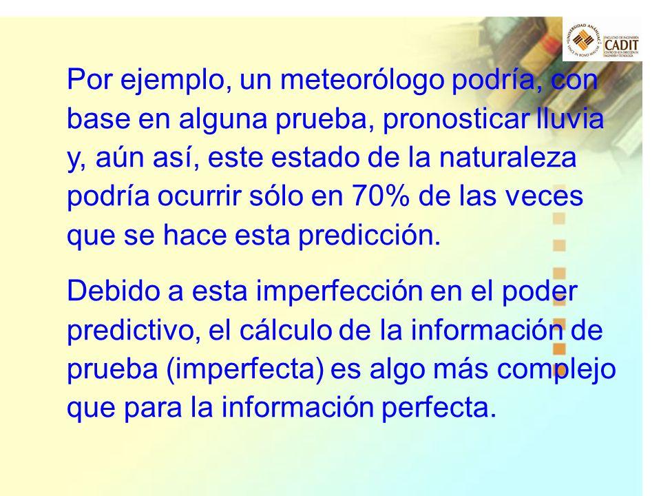 Por ejemplo, un meteorólogo podría, con base en alguna prueba, pronosticar lluvia y, aún así, este estado de la naturaleza podría ocurrir sólo en 70% de las veces que se hace esta predicción.