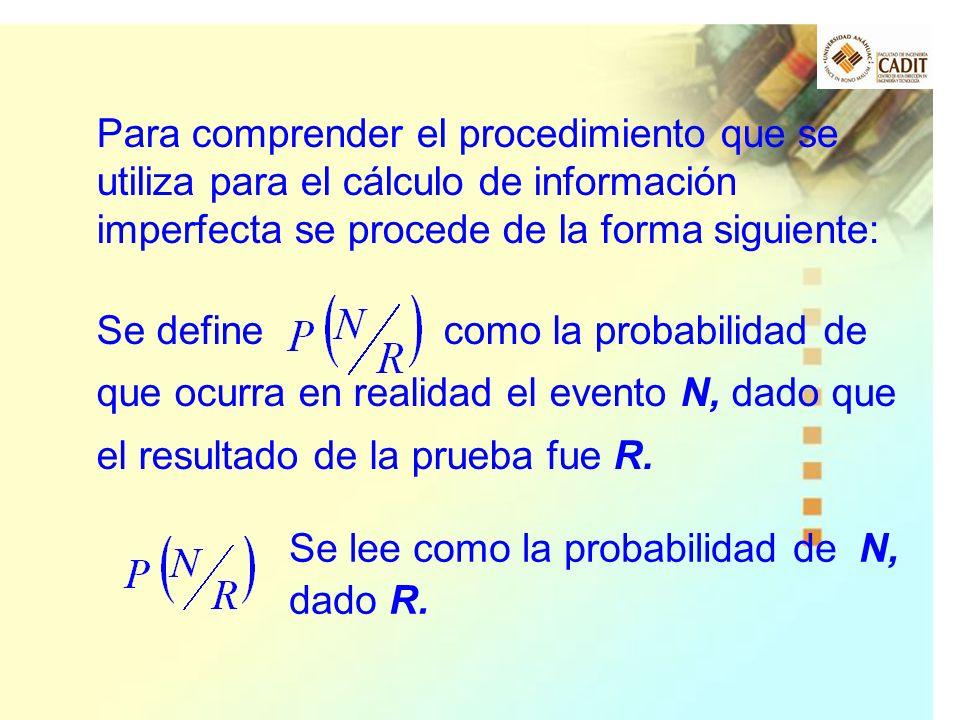 Para comprender el procedimiento que se utiliza para el cálculo de información imperfecta se procede de la forma siguiente: