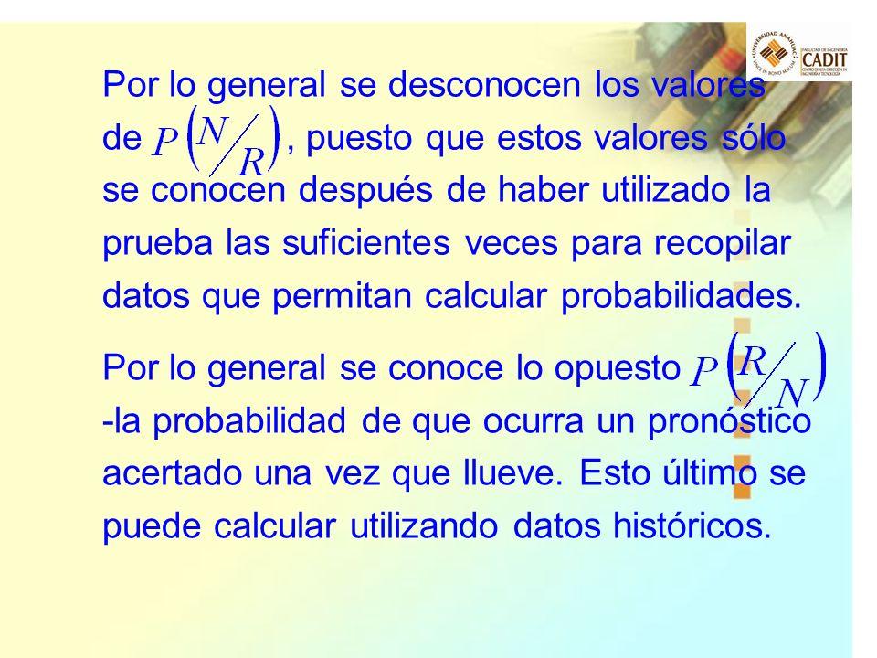 Por lo general se desconocen los valores de , puesto que estos valores sólo se conocen después de haber utilizado la prueba las suficientes veces para recopilar datos que permitan calcular probabilidades.