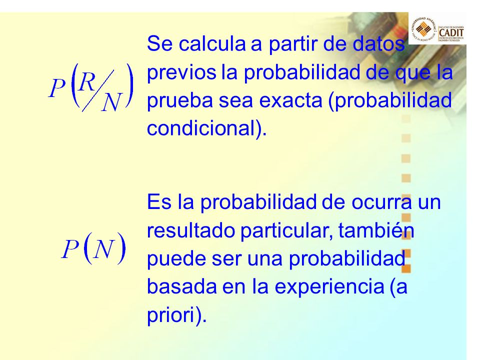 Se calcula a partir de datos previos la probabilidad de que la prueba sea exacta (probabilidad condicional).