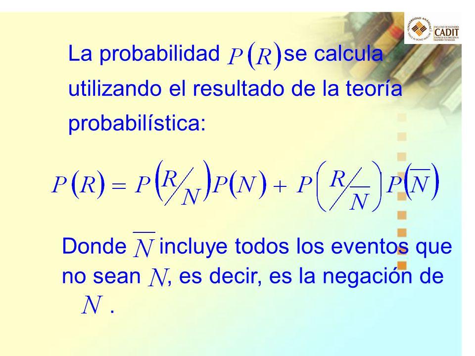 La probabilidad se calcula utilizando el resultado de la teoría probabilística: