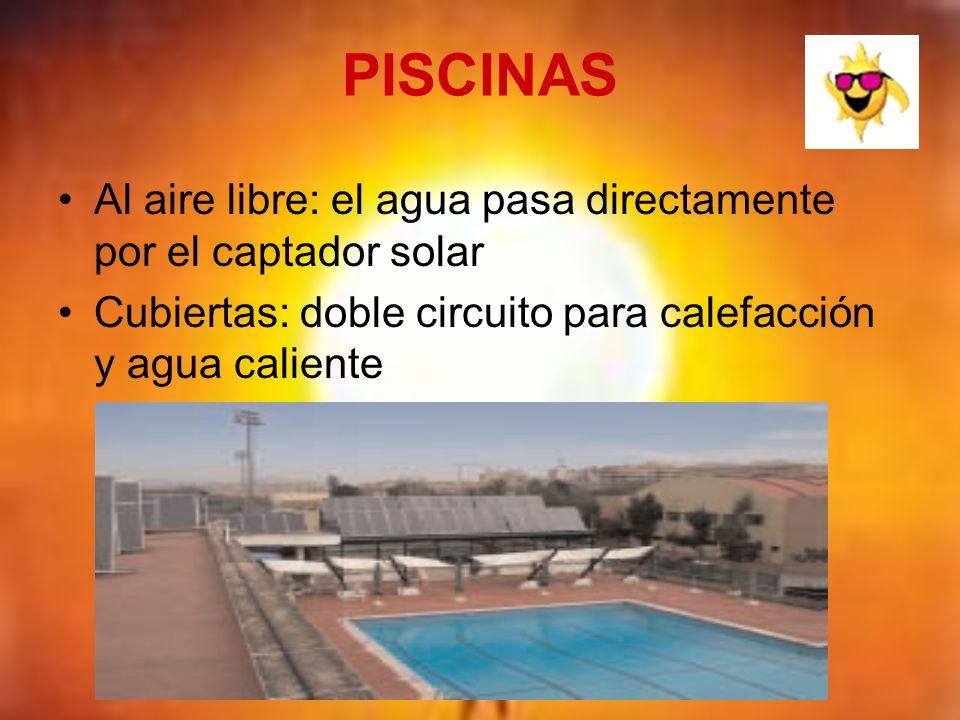 PISCINAS Al aire libre: el agua pasa directamente por el captador solar.