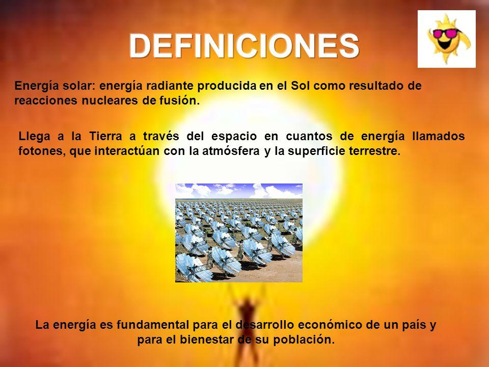 DEFINICIONES Energía solar: energía radiante producida en el Sol como resultado de reacciones nucleares de fusión.