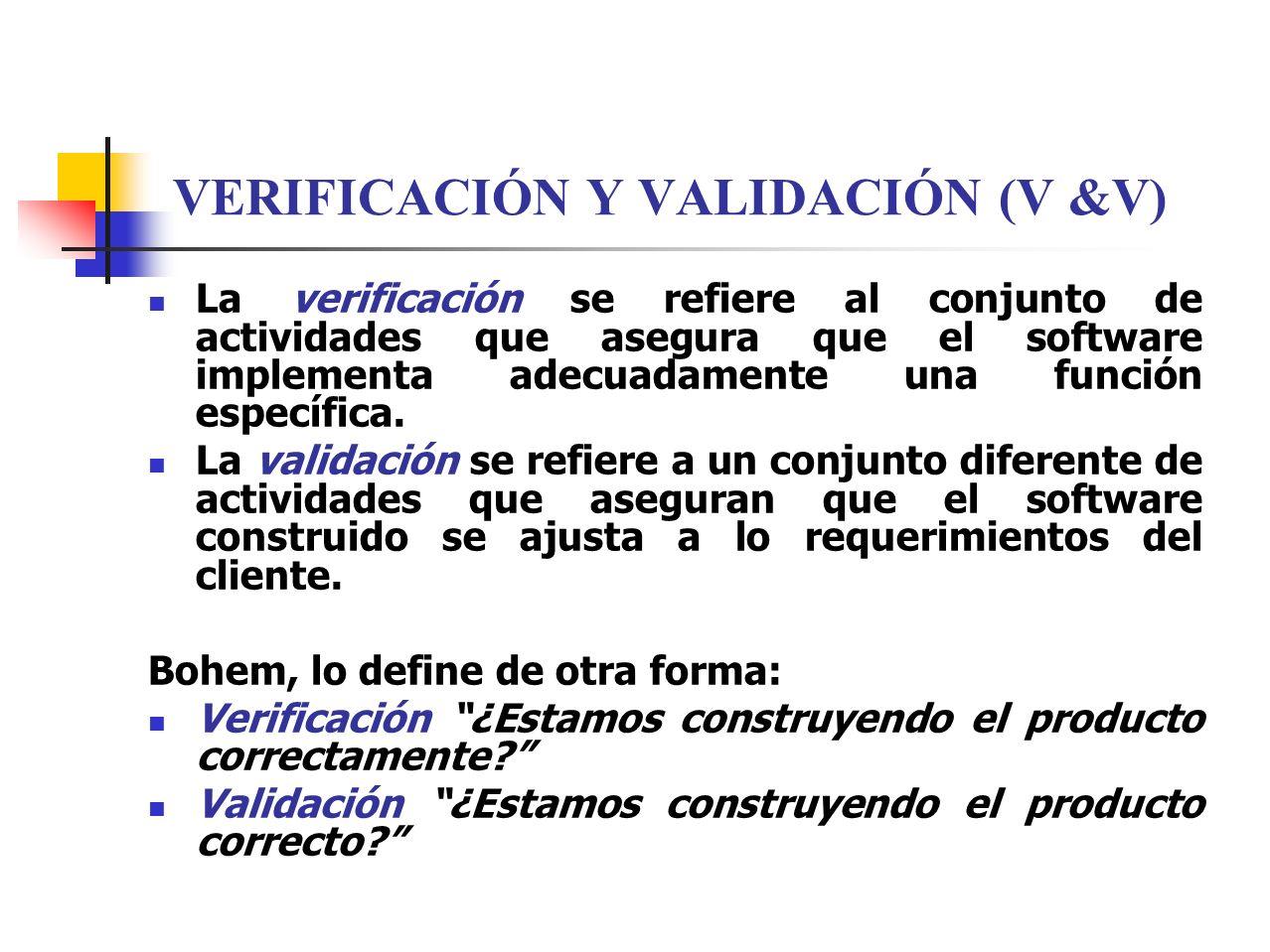 VERIFICACIÓN Y VALIDACIÓN (V &V)