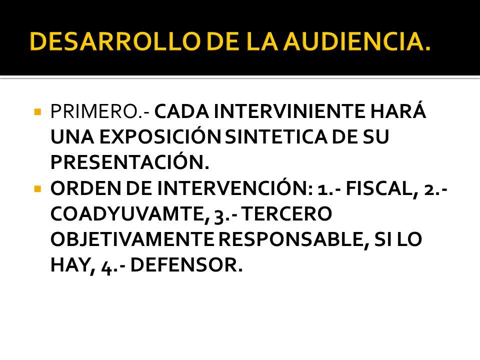 DESARROLLO DE LA AUDIENCIA.