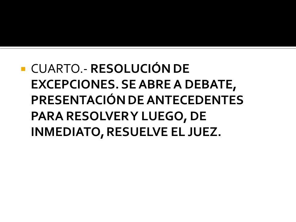 CUARTO. - RESOLUCIÓN DE EXCEPCIONES