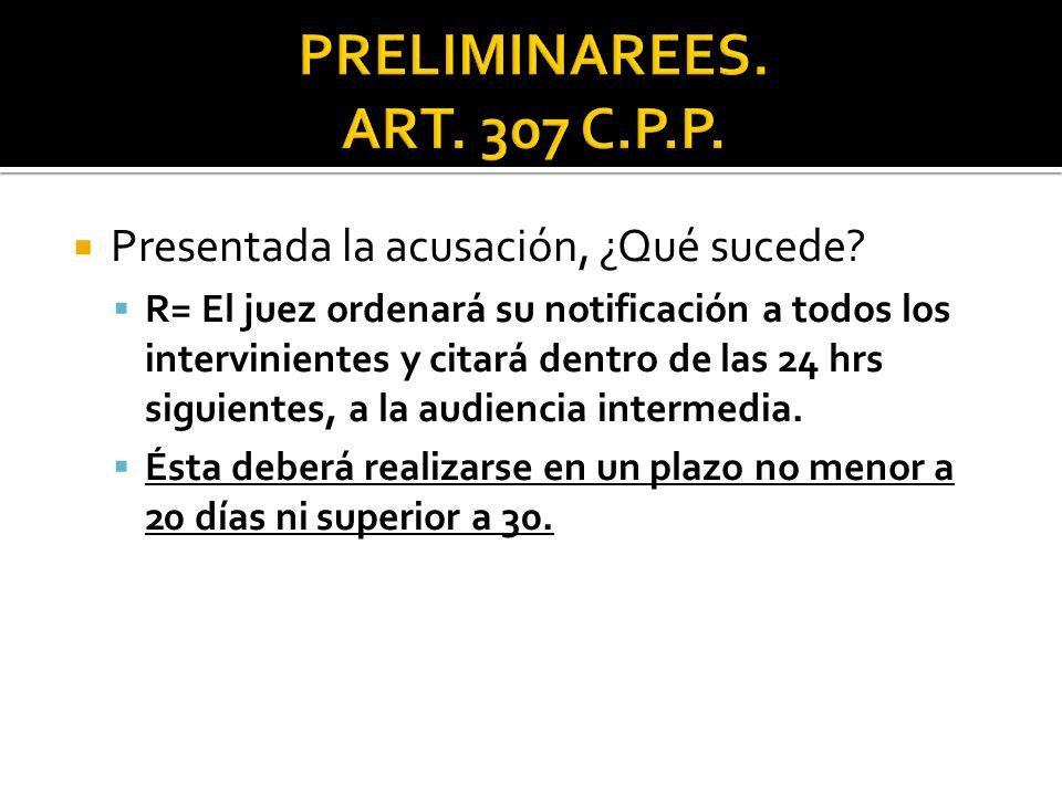 PRELIMINAREES. ART. 307 C.P.P. Presentada la acusación, ¿Qué sucede