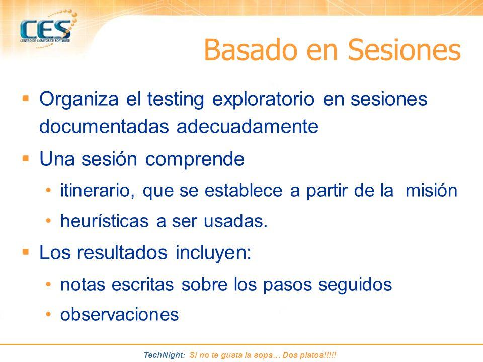 Basado en Sesiones Organiza el testing exploratorio en sesiones documentadas adecuadamente. Una sesión comprende.