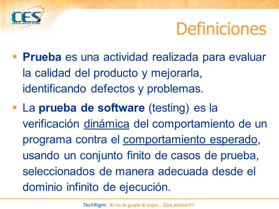 Definiciones Prueba es una actividad realizada para evaluar la calidad del producto y mejorarla, identificando defectos y problemas.